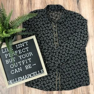 Zara Sugar Skull Chain Button Down Shirt Blouse S